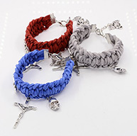 Braided Faux Suede Cord Bracelets, with Alloy Pendants and Alloy Lobster Claw Clasps, Jesus Cross and Skull, Antique Silver, Mixed Color, 165mm