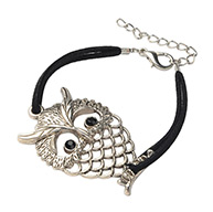 Owl Alloy Rhinestone Multi-strand Bracelets for Halloween, Faux Suede Cord with Alloy Lobster Claw Clasps, Antique Silver Metal Color, Black, 190mm
