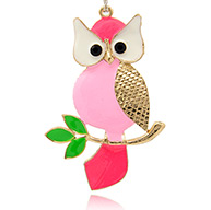 Alloy Enamel Bird Big Pendants for Halloween, Owl, Golden, Pink, 101x66x2.5mm, Hole: 3mm