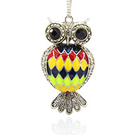 Antique Silver Plated Alloy Rhinestone Enamel Bird Big Pendants, Owl Necklace Charms for Halloween, Colorful, 62x33x15mm, Hole: 3mm