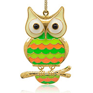 Golden Tone Alloy Enamel Big Pendants, Owl Big Pendants for Halloween, Colorful, 65x41x9mm, Hole: 2mm