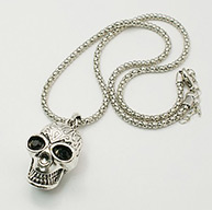 "Punk Skull Necklaces, Alloy Charm with Rhinestone, Iron Necklace Chain, Antique Silver, about 18.5"" long"