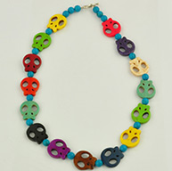 "Gemstone Beaded Necklaces, with Round Natural Sinkiang Turquoise Beads, Synthetical Howlite Skull Beads and Toggle Clasps, Colorful, about 19.3"" long"