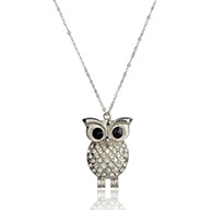 "Alloy Crystal Rhinestone Owl Long Chain Necklaces, Brass Chains with Resin and Brass Lobster Claw Clasps, Platinum, Black, 26.3""; Owl: about 68x46x8mm"