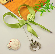 Fashion Tibetan Style Necklaces, with Iron Chains, Satin Ribbon, and Alloy Owl Pendants for Halloween, Green, 29.5""