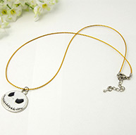 Fashion Alloy Enamel Necklaces, Metallic Cord with Brass Findings and Iron Findings, Halloween, White, 18.5""