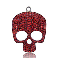 Black Tone Alloy Rhinestone Enamel Skull Big Pendants for Halloween, Light Siam, 54x40x3mm, Hole: 2.5mm