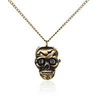 "Halloween Jewelry Gifts Alloy Skull Pendant Necklace Quartz Pocket Watch, Clamshell Watch, with Iron Chains and Lobster Claw Clasps, Antique Bronze, 31.7""; Watch Head: 34x26x14mm; Watch Face: 17x17mm"
