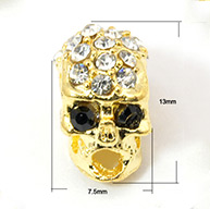 Alloy Rhinestone Beads, Halloween, Skull, Golden, 13x7.5x9mm, Hole: 3mm