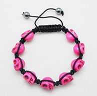 Fashion Shamballa Bracelets for Halloween, with Dyed Skull Turquoise Beads and Hand-Knitted Cord, HotPink, 8