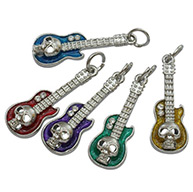 Mixed Enamel Guitar Alloy Pendants for Halloween, with Rhinstone, Platinum Color, 12x32mm, Hole: 4mm