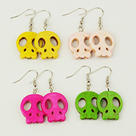 Fashion Earrings For Halloween, with Skull Synthetical Howlite Beads and Brass Earrings Hooks, Mixed Color, 43mm