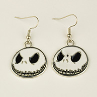 Fashion Alloy Enamel Earrings, with Brass Earring Hooks, Flat Round, White, Halloween, 42x24mm