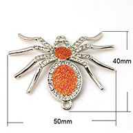Halloween Spider Jewelry Zinc Alloy Links, 1/1Loop, with Enamel and Rhinestone Beads, Grade A, Platinum Metal Color, OrangeRed, 50x40x3mm