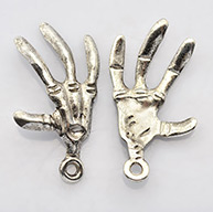 Antique Silver Tibetan Style Hand Skeleton Pendants for Halloween, Lead Free and Cadmium Free, 32mm long, 19mm wide, 3mm thick, hole: 2mm