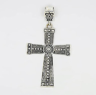 Tibetan Style Alloy Big Pendants, Halloween, Lead Free and Cadmium Free, Antique Silver, Cross: about 83mm long, 57mm wide, 4mm thick, Skull: 25.5mm long, 12mm thick, hole: 7x10mm