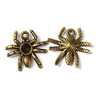 Vintage Style Antique Bronze Tone Halloween Jewelry Alloy Spider Pendants Charms, Lead Free & Nickel Free & Cadmium Free, about 17.5mm long, 19mm wide, 3mm thick, hole: 1.5mm