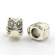 Alloy European Beads, Lead Free, Halloween, Owl, Antique Silver, 10x8x8mm, Hole: 4.5mm
