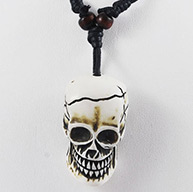 "Resin Necklace for Halloween, with Cotton Wax Cord, WhiteSmoke, 39mm long, 24mm wide, 22mm thick, hole: 3mm, about 10-19""/strand"