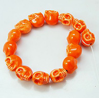 Handmade Porcelain Beads Strands, Bright Glazed Style, Skull, Halloween, OrangeRed, 13x11x13mm, Hole: 1mm