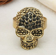 Alloy Rings for Halloween, with Rhinestones, Adjustable, Golden, 18mm in Diameter