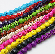 Synthetic Howlite Beads, Dyed, Halloween, Skull, Mixed Color, 9x7.5x9mm, hole: 1mm
