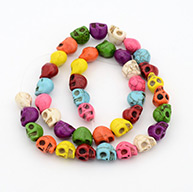 1 Strand Synthetic Turquoise Skull Beads Strands for Halloween Jewelry Making, Dyed, Mixed Color, 10x8x9mm, Hole: 1mm