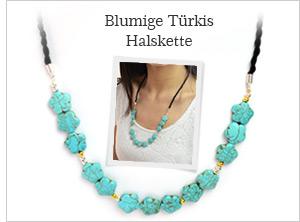 Blumige Türkis Halskette