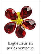 Bague fleur en perles acrylique